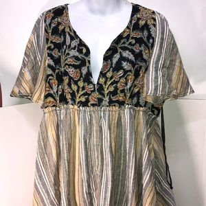 NWT Cute Free People Back Combo Blouse sz.M